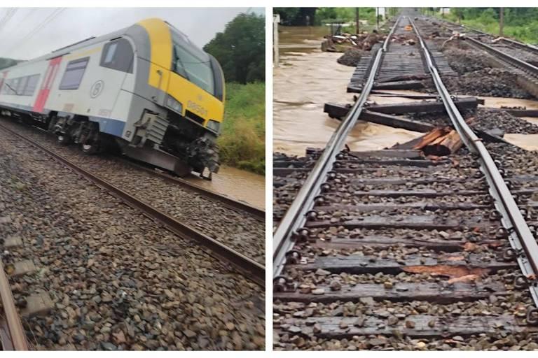 Un train déraille, des rails sous eau, une route régionale s'affaisse: la situation est catastrophique dans la province du Luxembourg
