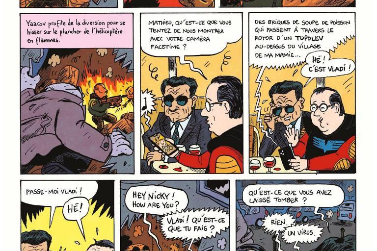 Un super-héros de pierre, Vladimir Poutine, Mathieu Sapin, Nicolas Sarkozy et François Hollande sauvent le monde.