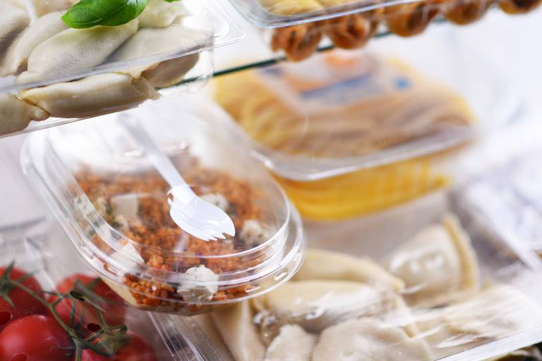 A,Variety,Of,Prepackaged,Food,Products,In,Plastic,Boxes.