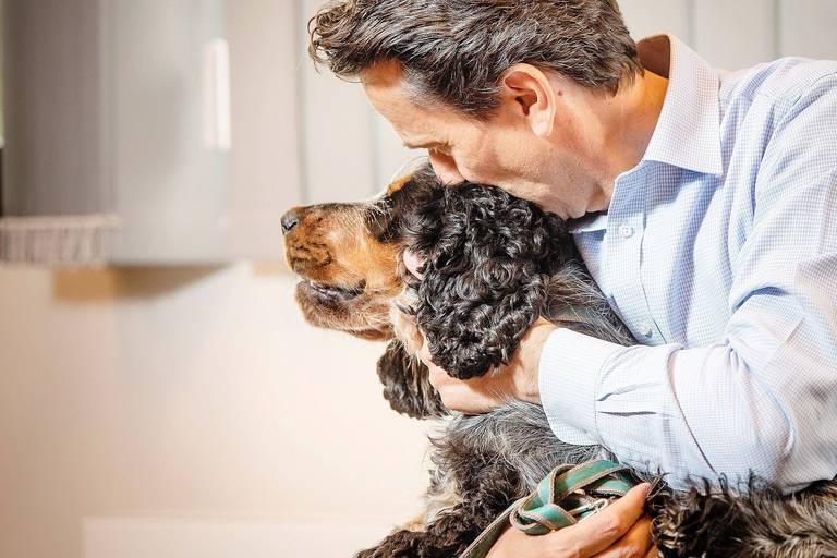 """Le CEO de Nestlé Belgilux Michel Mersch vante le programme """"Pets at work"""": amener son chien au travail. Ce 12 juillet, plusieurs employés étaient accompagnés de leur chien au siège de Nestlé Belgilux à Bruxelles."""