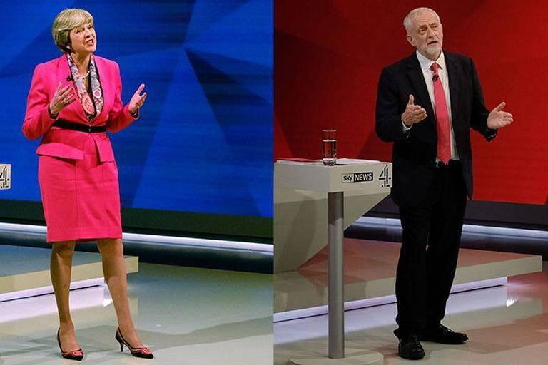 """Elections britanniques: le """"péché mortel"""" de Theresa May face au """"fort et stable"""" Jeremy Corbyn"""