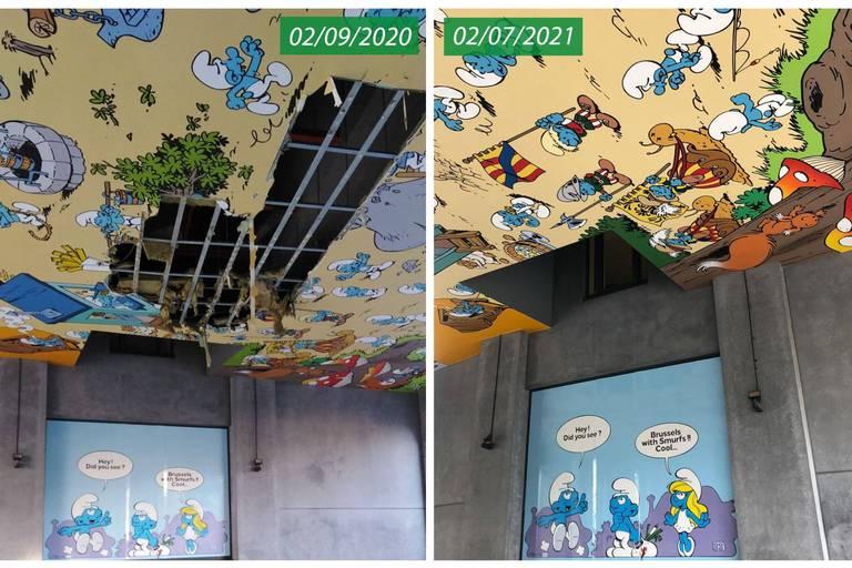 Gare Centrale : La fresque des Schtroumpfs remise à neuf