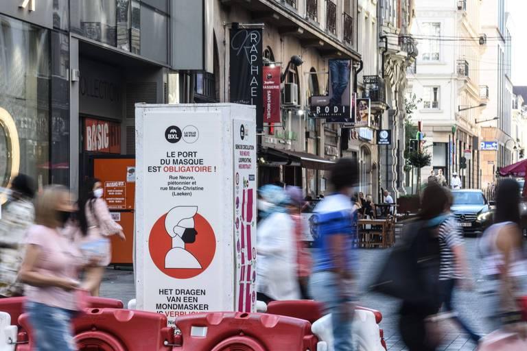 La Ville de Bruxelles prolonge l'obligation du port du masque dans la rue Neuve et sur ses marchés