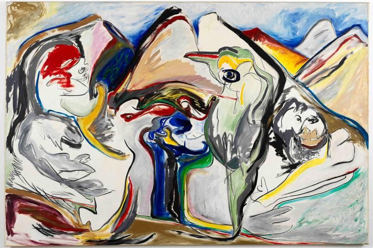 Jacqueline de Jong: Le jour des Montagnes philosophiques (1984), 200 x 300 cm