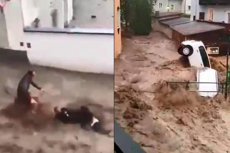 Images effrayantes en Autriche: la ville d'Hallein submergée, trois personnes emportées par les flots s'en sortent miraculeusement