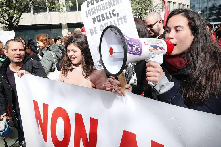 Photos Bernard Demoulin : Manifestation contre le pacte d'excellence a Bruxelles
