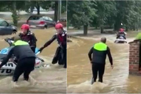 Deux amis sortent leur jet-ski pour secourir des habitants piégés par les eaux à Esneux