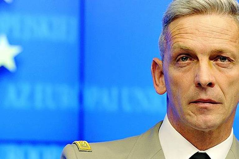 (FILES) This file photo taken on March 05, 2013 shows then French Brigadier General François Lecointre giving a press conference on the situation in Mali at the EU Headquarters in Brussels. François Lecointre was appointed French army Chief of Military Staff on July 19, 2017. / AFP PHOTO / GEORGES GOBET