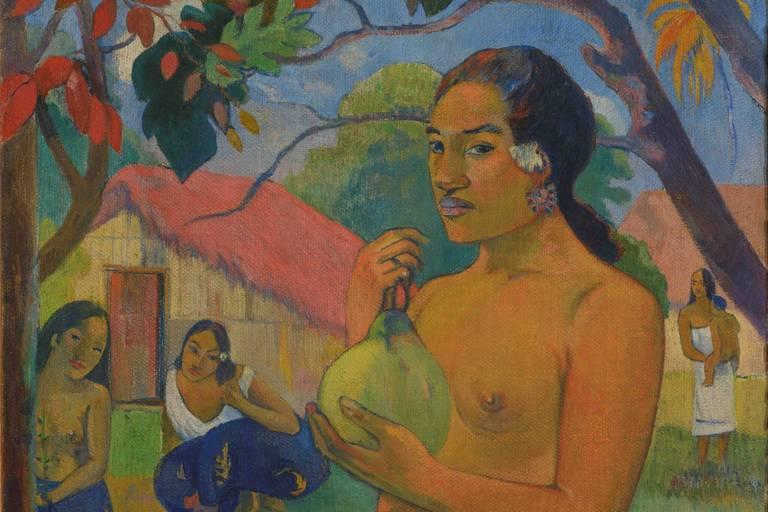 """Gauguin: """"Eü aere ia oe"""", """"Où vas-tu?"""" , La femme au fruit."""
