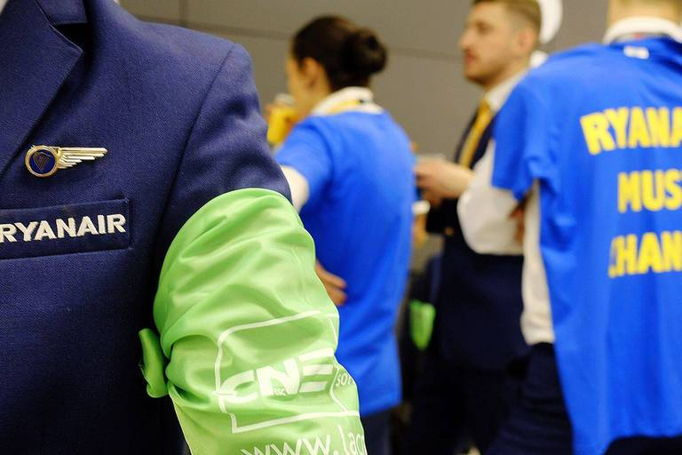 Ryanair personnel pictured at Brussels Airport in Zaventem, during a strike of cabin personnel of Irish low-cost airline Ryanair, Wednesday 25 July 2018. Belgian, Portuguese, Spanish and Italian unions are on strike this Wednesday and Thursday, demanding better rights and the recognition of a union. BELGA PHOTO ERIC LALMAND
