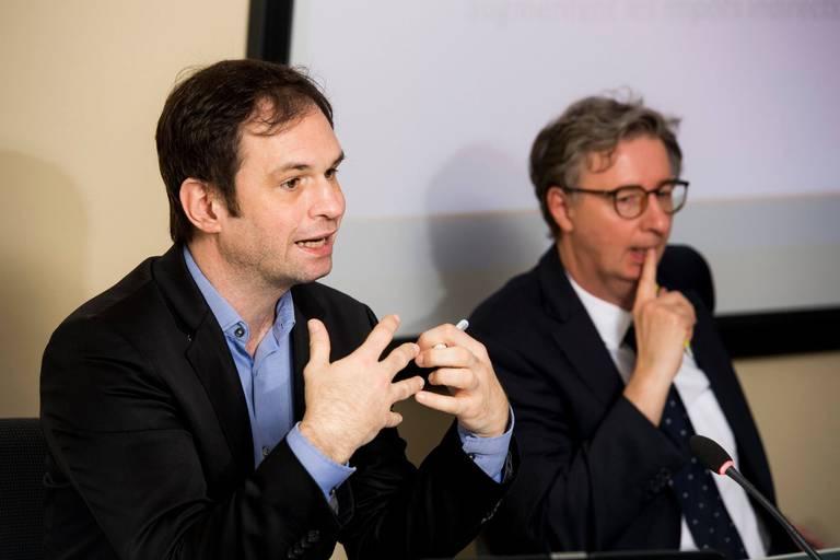 Philippe Donnay, commissaire au Bureau fédéral du Plan, et Igor Lebrun, expert pour le Plan.