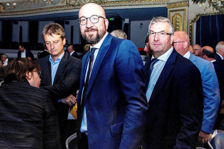 MR chairman Olivier Chastel, Belgian Prime Minister Charles Michel and Walloon vice-minister president and minister of Economy, Employment and Formation Pierre-Yves Jeholet pictured during the official ceremony for the festivities at the 'Fetes de Wallonie' (Wallonia feasts) in Namur, Saturday 15 September 2018. BELGA PHOTO HATIM KAGHAT