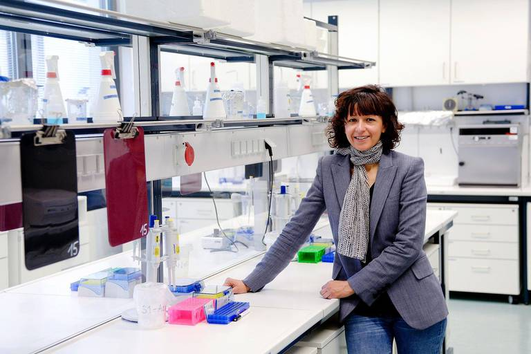 Researcher Emmanuelle Charpentier stands in a laboratory at the Helmholtz Centre for Infection Research in Braunschweig, Germany, 19 May 2015. Charpentier is one of the brains behind a technology with which genomes of almost all organisms - bacteria, animals, plants, and humans - can be manipulated more effectively than ever before. Photo: Peter Steffen/dpa Reporters / DPA