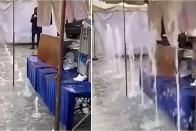 Des jets d'eau déclenchés par erreur arrosent les échoppes d'un marché en Flandre
