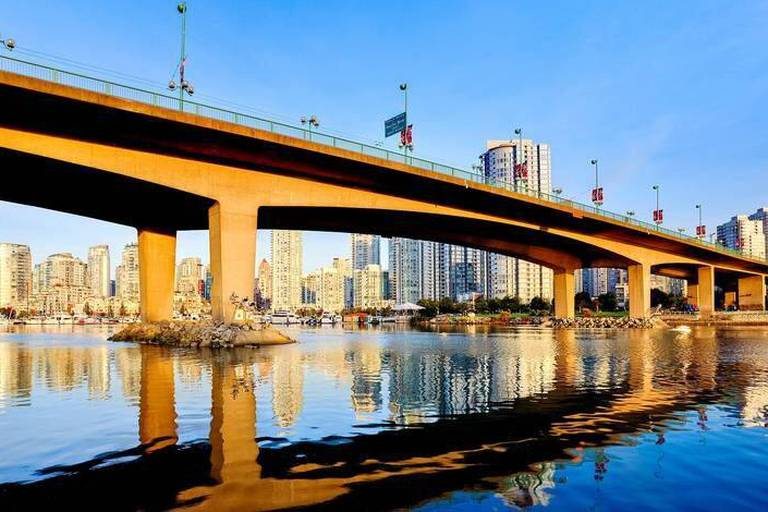 View Under Cambie Street Bridge From False Creek To Condominiums Of Yaletown, Vancouver, British Columbia Reporters / Design Pics