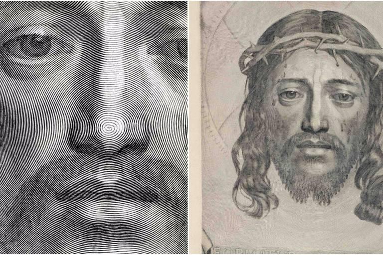 Claude Mellan: la Sainte Face (1649), visage du Christ apparaissant sur le linge de sainte Véronique, détail (gauche) et sans détail (droite)
