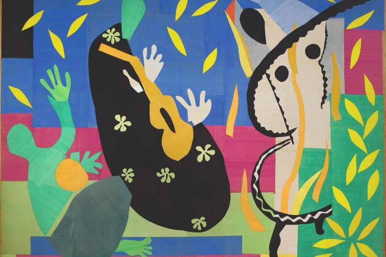 Henri Matisse,, La Tristesse du roi, 195, 2 Papiers gouachés, découpés, collés et maroués sur toile 292 × 386 cm , Centre Pompidou, Musée national d'art moderne, Paris © Succession H. Matisse
