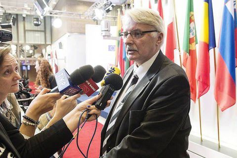 Polish Foreign Minister Witold Waszczykowski talks to the press after FAC the EU Foreign Ministers Council in Brussels, Belgium on 14.12.2015 by Wiktor Dabkowski Reporters / DPA