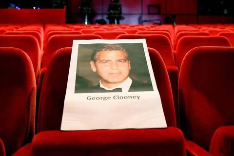 A seat has been prepared for US actor George Clooney at Berlinale Palace in Berlin, Germany, 10 February 2016. Photo: MICHAEL KAPPELER/dpa Reporters / DPA