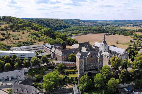 Aerial,View,Of,Floreffe,Abbey,During,Summer,Day,,Belgium.,Old