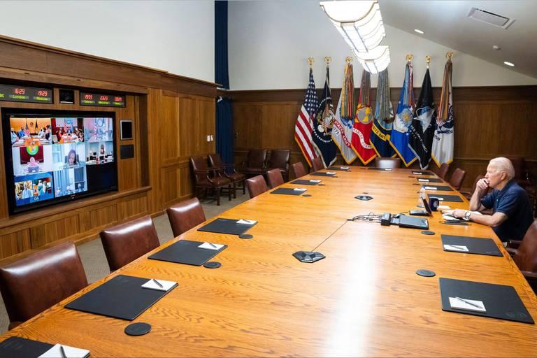 Biden Meets National Security Team from Camp David