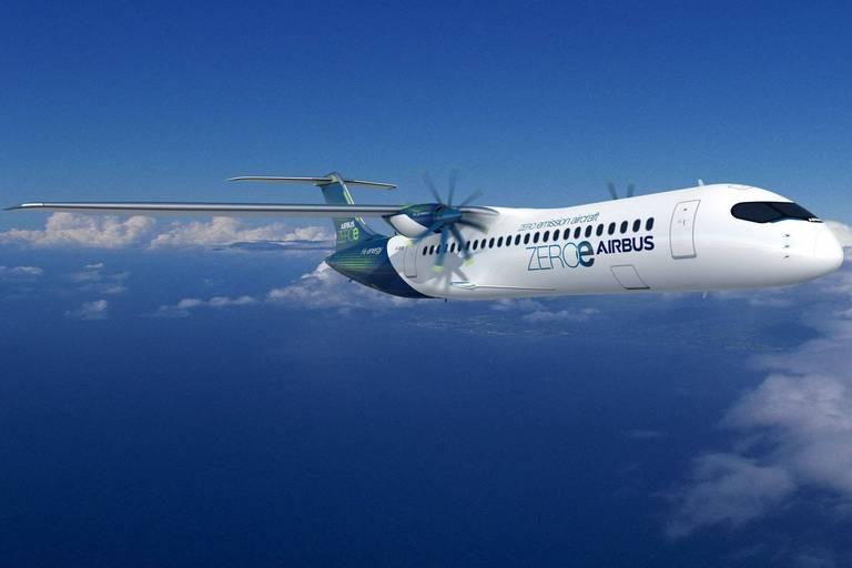 Airbus ambitionne de lancer son premier avion hydrogène en 2035. À hélices, il pourra accueillir 100 passagers mais ne pourra pas encore effectuer de vols long-courriers.