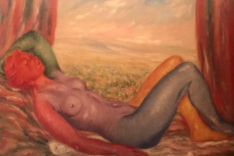 René Magritte: La Moisson, 1943, 59,7 x 80 cm, Musées royaux des Beaux-arts de Belgique.