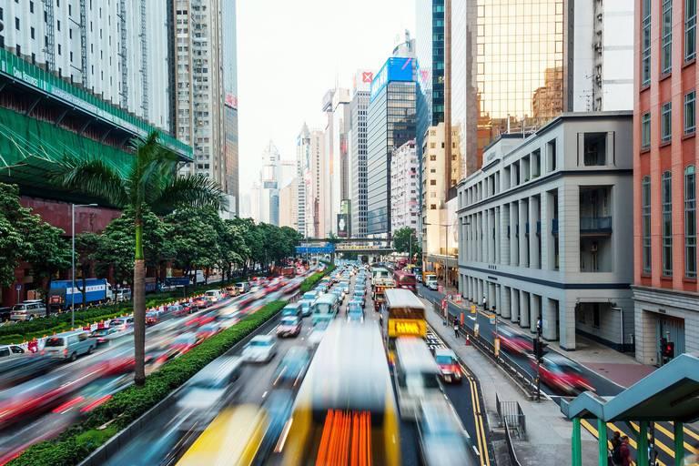 Central district in Hong Kong Island, traffic at dusk; Hong Kong, China Reporters / Design Pics
