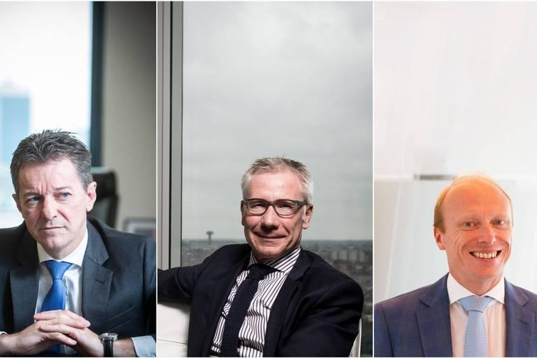 De gauche à droite : Johan Thijs (CEO de KBC), Marc Raisière (CEO de Belfius) et Peter Adams (CEO d'ING Belgique).