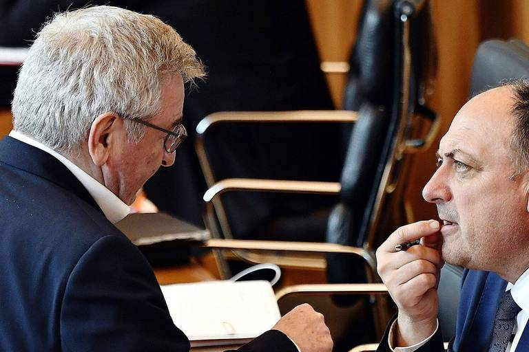Walloon Minister of Agriculture, Nature, Rurality, Tourism and Patrimony Rene Collin and Walloon Minister President Willy Borsus pictured during a plenary session of the Walloon Parliament in Namur, Wednesday 03 April 2019. Today a project of a decree on air pollution linked to traffic. BELGA PHOTO ERIC LALMAND