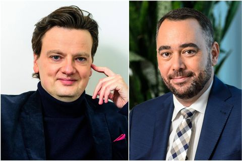 Le président de Défi François De Smet (gauche) et le président du CDH Maxime Prévot (droite).