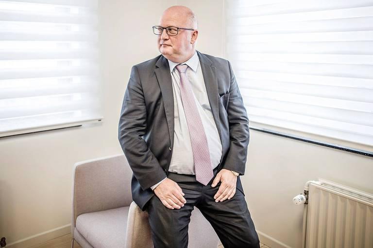 20170618 - BELGIQUE, NAMUR: Portrait Jean-Luc Crucke (MR), ministre wallon du budget et de l'énergie, le 18 juin 2018. PHOTO OLIVIER PAPEGNIES / COLLECTIF HUMA