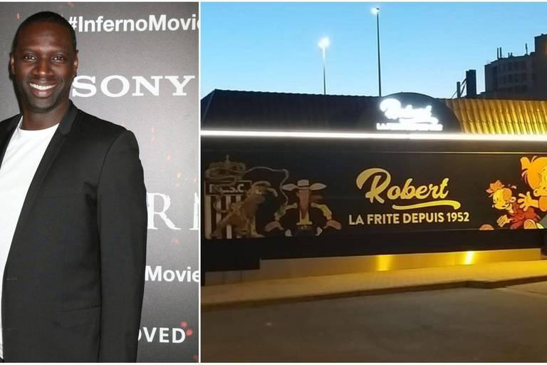 """En plein tournage, Omar Sy fait une apparition surprise chez Robert la Frite pour déguster """"les meilleures frites de la région"""" (PHOTOS)"""