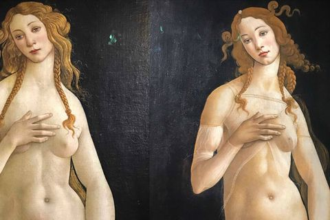 Sandro Botticelli : Vénus pudica, vers 1485-1490, tempera sur toile, 158,1 x 68,5 com, Berlin Gemäldegalerie  Sandro Botticelli : Vénus pudica, vers 1485-1490, tempera sur toile, 174 x 77 com, Turin Galleria Sabauda