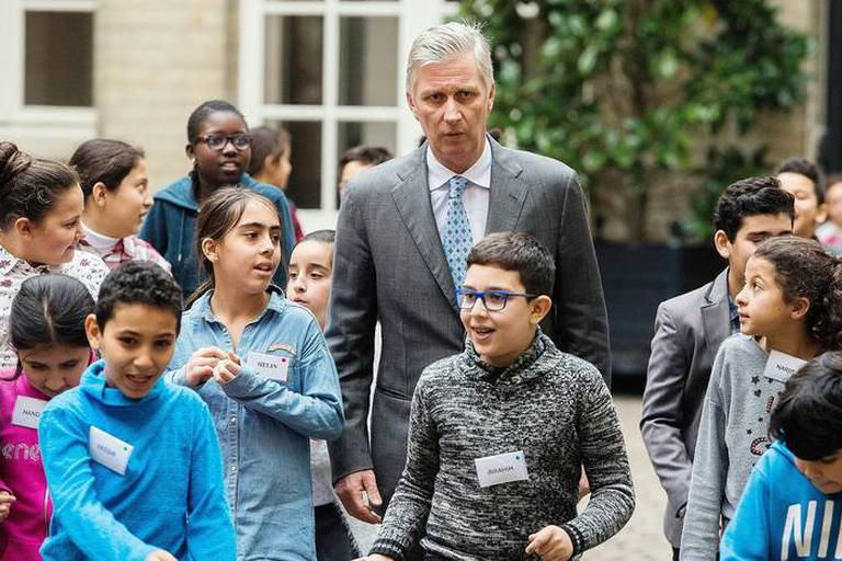King Philippe - Filip of Belgium pictured in the Royal Palace, where he received a TADA (Toekomstatelier / Atelier de l'avenir) class of children to talk about his job being king, Wednesday 06 December 2017. BELGA PHOTO LAURIE DIEFFEMBACQ